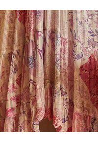 HEMANT & NANDITA - Spódnica z kwiatowym nadrukiem. Okazja: na co dzień. Kolor: różowy, fioletowy, wielokolorowy. Materiał: materiał. Wzór: kwiaty, nadruk. Sezon: lato. Styl: casual