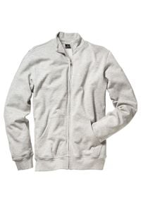 Bluza rozpinana ze stójką bonprix jasnoszary melanż. Typ kołnierza: kołnierzyk stójkowy. Kolor: szary. Wzór: melanż. Styl: sportowy