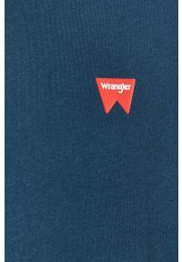 Niebieski t-shirt Wrangler na co dzień, z okrągłym kołnierzem