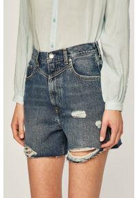 Niebieskie szorty Pepe Jeans z podwyższonym stanem, na co dzień, casualowe