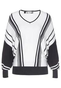 Sweter bonprix czarno-biały w paski. Typ kołnierza: dekolt w serek. Kolor: czarny. Wzór: paski. Styl: elegancki