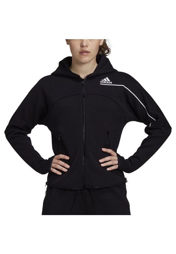 Czarna bluza Adidas z podwójnym kołnierzykiem, klasyczna, w paski