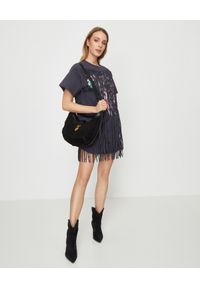 ISABEL MARANT - Szara sukienka z frędzlami Baiao. Okazja: na plażę. Kolor: szary. Materiał: materiał. Wzór: napisy, aplikacja, kolorowy, haft, nadruk. Długość: mini