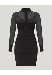 HERVE LEGER - Czarna sukienka z golfem. Typ kołnierza: golf. Kolor: czarny. Materiał: materiał. Typ sukienki: kopertowe, sportowe. Styl: sportowy, klasyczny. Długość: mini