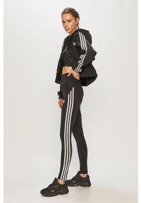 Czarna bluza rozpinana adidas Originals casualowa, na co dzień, z aplikacjami