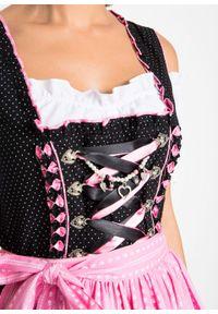 Sukienka ludowa z bluzką i fartuchem, dł. przed kolano bonprix czarno-jasnoróżowy. Kolor: czarny. Materiał: materiał, wiskoza, bawełna, poliester. Wzór: aplikacja. Długość: mini