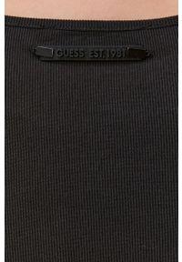 Guess - Sukienka. Kolor: czarny. Materiał: tkanina, jedwab, dzianina, materiał. Wzór: gładki. Typ sukienki: dopasowane