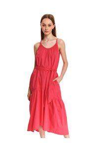 DRYWASH - Sukienka midi na cienkich ramiączkach z wiązaniem w pasie. Kolor: różowy. Długość rękawa: na ramiączkach. Sezon: lato. Styl: wakacyjny. Długość: midi