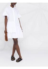 TwinSet - Sukienka z asymetrycznymi falbanami Twinset. Typ kołnierza: kołnierzyk stójkowy. Kolor: biały. Materiał: tkanina, bawełna, elastan. Typ sukienki: asymetryczne. Styl: klasyczny