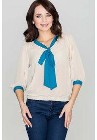 Beżowa bluzka Katrus z kokardą, elegancka