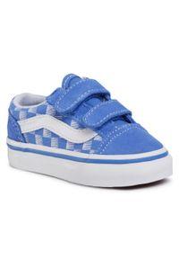 Niebieskie półbuty Vans na spacer, z cholewką, na rzepy