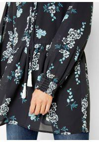 Czarna tunika bonprix długa, w kwiaty