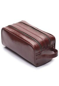Elegancka skórzana kosmetyczka męska Solier burgundowa. Kolor: czerwony. Materiał: skóra. Wzór: gładki