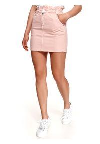 TOP SECRET - Denimowa spódniczka mini. Okazja: na co dzień. Kolor: różowy. Materiał: tkanina. Sezon: lato. Styl: wakacyjny, casual