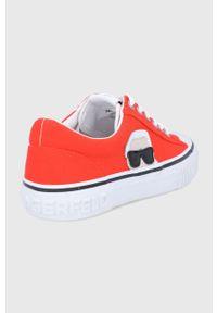 Karl Lagerfeld - Tenisówki. Nosek buta: okrągły. Zapięcie: sznurówki. Kolor: pomarańczowy. Materiał: guma