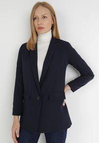 Born2be - Granatowa Marynarka Deroya. Kolor: niebieski. Materiał: tkanina. Styl: klasyczny