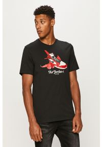 Czarny t-shirt Jordan z okrągłym kołnierzem, na co dzień, z nadrukiem
