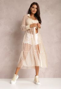 Renee - Jasnoróżowa Sukienka Faizah. Kolor: różowy. Materiał: tkanina, jeans. Długość rękawa: długi rękaw. Styl: klasyczny. Długość: midi