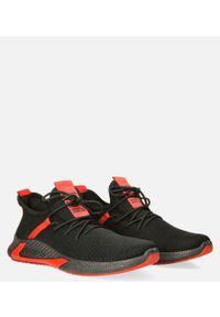 Casu - czarne buty sportowe sznurowane casu 20a8/r. Kolor: czarny, czerwony, wielokolorowy