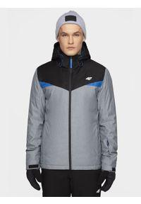 Szara kurtka 4f z kapturem, na zimę