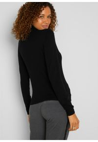 Sweter z golfem, z kaszmirem bonprix czarny. Typ kołnierza: golf. Kolor: czarny. Materiał: kaszmir. Styl: elegancki