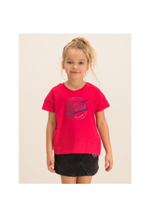 Różowy t-shirt TOMMY HILFIGER z nadrukiem
