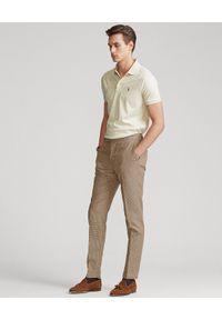 Ralph Lauren - RALPH LAUREN - Beżowa koszulka polo Custom Slim Fit. Typ kołnierza: polo. Kolor: beżowy. Materiał: tkanina, bawełna, prążkowany. Wzór: haft #4