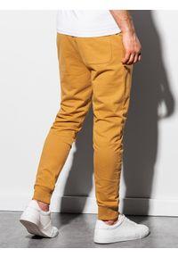 Ombre Clothing - Spodnie męskie dresowe joggery P952 - musztardowe - XXL. Kolor: żółty. Materiał: dresówka #2