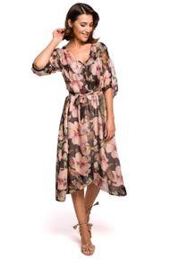 e-margeritka - Sukienka szyfonowa midi w kwiaty czarna - s. Okazja: do pracy, na imprezę. Kolor: czarny. Materiał: szyfon. Wzór: kwiaty. Typ sukienki: asymetryczne, rozkloszowane. Styl: elegancki. Długość: midi