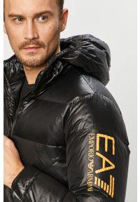 Czarna kurtka EA7 Emporio Armani na co dzień, casualowa, z kapturem