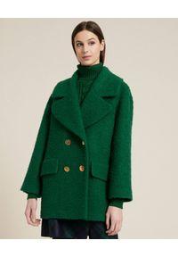 Luisa Spagnoli - LUISA SPAGNOLI - Zielony dwurzędowy płaszcz z wełny Salentina. Kolor: zielony. Materiał: wełna