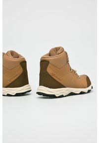 Brązowe buty zimowe New Balance z okrągłym noskiem, na zimę, na sznurówki