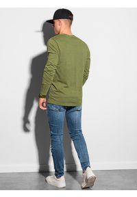 Ombre Clothing - Longsleeve męski bez nadruku L131 - oliwkowy - XXL. Kolor: oliwkowy. Materiał: bawełna. Długość rękawa: długi rękaw #4