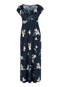 Niebieska sukienka Happy Holly maxi, z krótkim rękawem