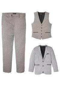 Garnitur 3-częściowy: marynarka + spodnie + kamizelka bonprix jasnoszary melanż. Okazja: na wesele, na ślub cywilny. Kolor: szary. Wzór: melanż. Styl: elegancki