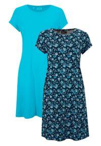 Sukienka shirtowa z rozcięciami po bokach (2 szt.) bonprix ciemnoniebieski w kwiaty + niebieski karaibski. Kolor: niebieski. Długość rękawa: krótki rękaw. Wzór: kwiaty