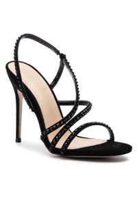 Czarne sandały Eva Minge wizytowe, z aplikacjami