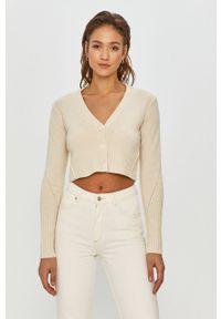 Kremowy sweter rozpinany AllSaints długi, z długim rękawem