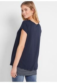 Shirt ciążowy i do karmienia bonprix ciemnoniebiesko-biały w paski. Kolekcja: moda ciążowa. Kolor: niebieski. Wzór: paski