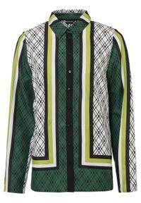 Bluzka oversize bonprix zielono-żółto-biało-czarny wzorzysty. Kolor: zielony
