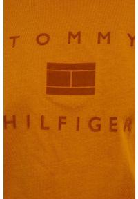 TOMMY HILFIGER - Tommy Hilfiger - T-shirt bawełniany. Okazja: na co dzień. Kolor: pomarańczowy. Materiał: bawełna. Styl: casual