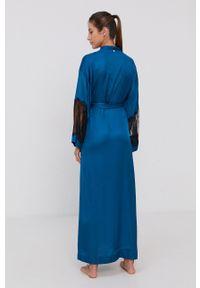 TwinSet - Twinset - Szlafrok. Kolor: niebieski. Materiał: tkanina, koronka
