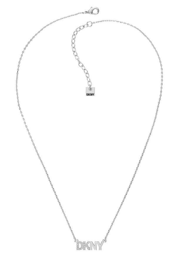 Srebrny naszyjnik DKNY z kryształem, z aplikacjami, ze stali