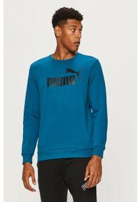 Niebieska bluza nierozpinana Puma casualowa, z nadrukiem