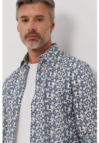 Niebieska koszula Marciano Guess długa, z włoskim kołnierzykiem, elegancka