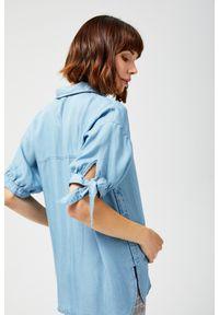 Niebieska koszula MOODO z krótkim rękawem, krótka