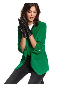 TOP SECRET - żakiet damski luźny, z rękawem 3/4. Okazja: na imprezę. Kolor: zielony. Materiał: dzianina