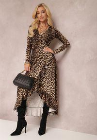 Renee - Czarno-Beżowa Sukienka Mynialle. Typ kołnierza: dekolt w kształcie V. Kolor: czarny. Materiał: dzianina. Długość rękawa: długi rękaw. Typ sukienki: kopertowe. Długość: maxi