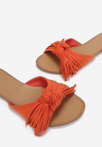 Born2be - Pomarańczowe Klapki Delora. Nosek buta: otwarty. Kolor: pomarańczowy. Materiał: skóra ekologiczna. Wzór: jednolity. Obcas: na obcasie. Styl: boho