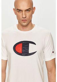 Biały t-shirt Champion na co dzień, casualowy, z aplikacjami